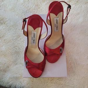Ruby Red Satin Jimmy Choo Heels